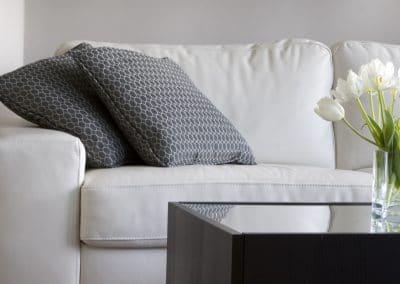 white tulips in modern living room